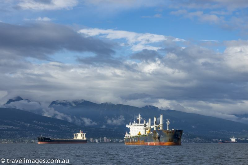 Cargo ships in English Bay, Vancouver